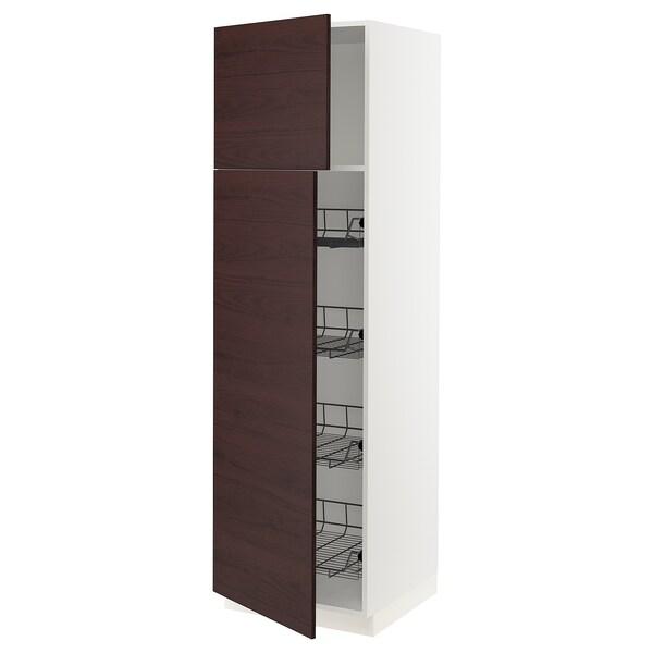 """SEKTION High cabinet w/door & wire baskets, white Askersund/dark brown ash effect, 24x24x80 """""""