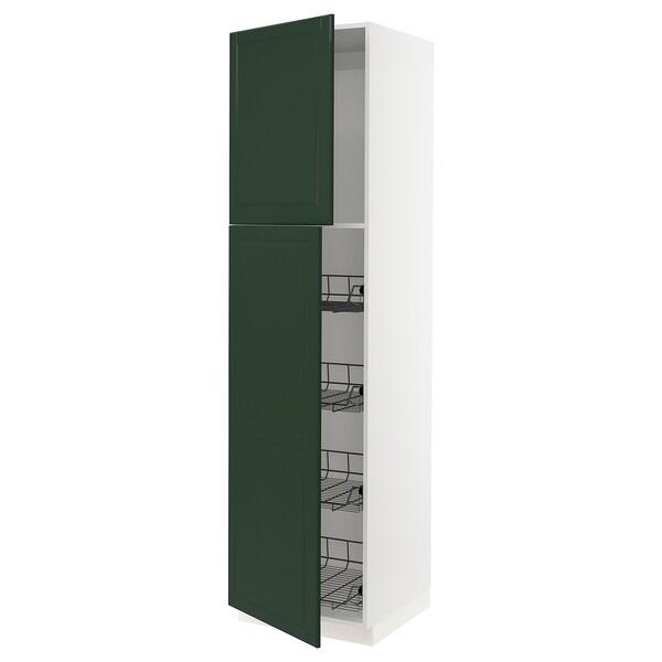 """SEKTION High cabinet w door/wire baskets, white/Bodbyn dark green, 24x24x90 """""""