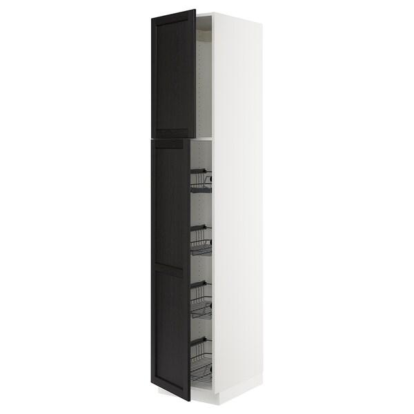 """SEKTION High cabinet w door/wire baskets, white/Lerhyttan black stained, 18x24x90 """""""