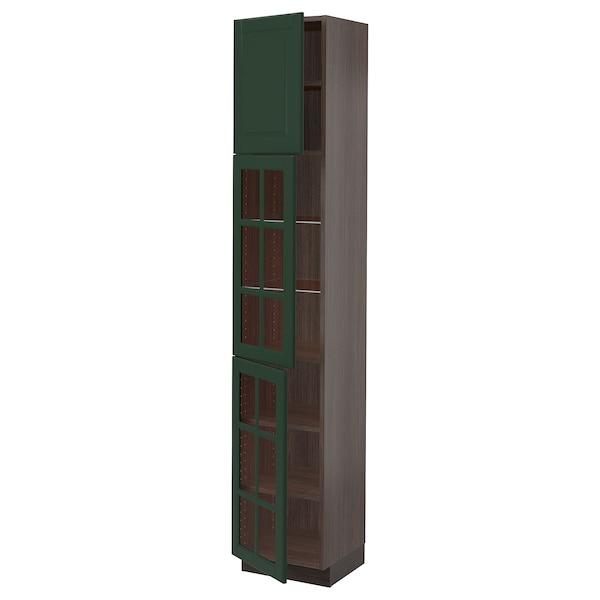 "SEKTION High cabinet w glass door/2 doors, brown/Bodbyn dark green, 15x15x80 """