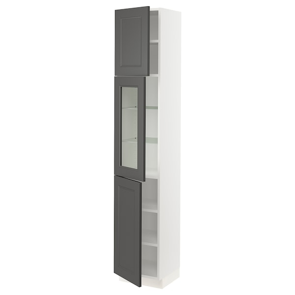 SEKTION High cabinet w glass door/2 doors, white/Axstad dark gray, 15x15x80 ""