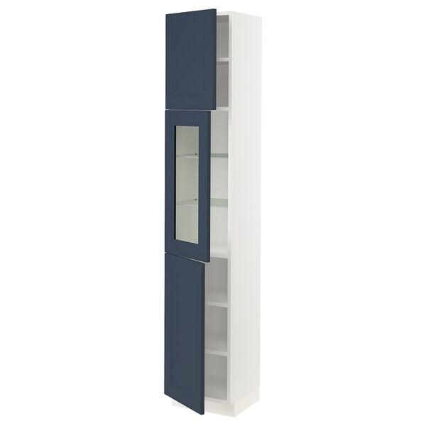 "SEKTION High cabinet w glass door/2 doors, white Axstad/matte blue, 15x15x80 """