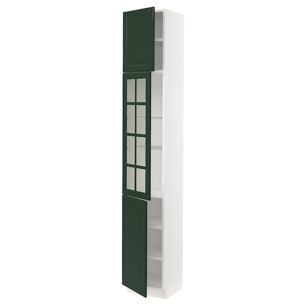 SEKTION High cabinet w glass door/2 doors, white/Bodbyn dark green, 15x15x90 ""