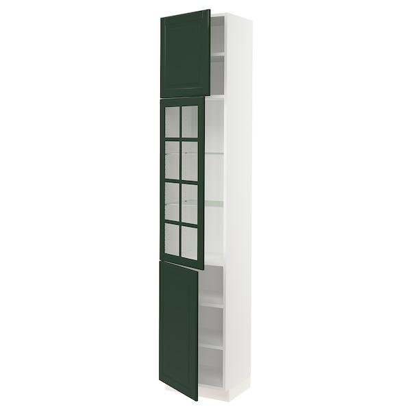"SEKTION High cabinet w glass door/2 doors, white/Bodbyn dark green, 18x15x90 """