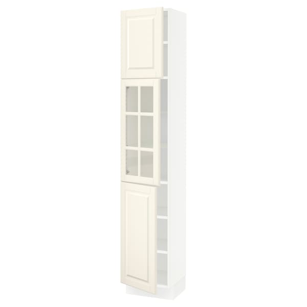 SEKTION High cabinet w glass door/2 doors, white/Bodbyn off-white, 15x15x80 ""
