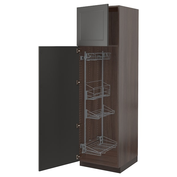 """SEKTION High cabinet w/pull-out organizers, brown/Axstad dark gray, 24x24x80 """""""