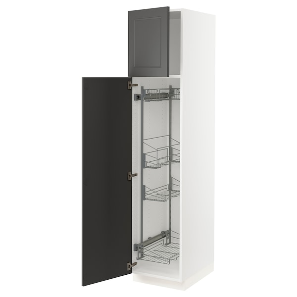 """SEKTION High cabinet w/pull-out organizers, white/Axstad dark gray, 18x24x80 """""""