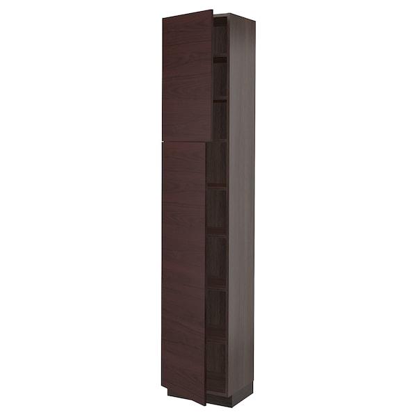 "SEKTION High cabinet with shelves & 2 doors, brown Askersund/dark brown ash effect, 18x15x90 """
