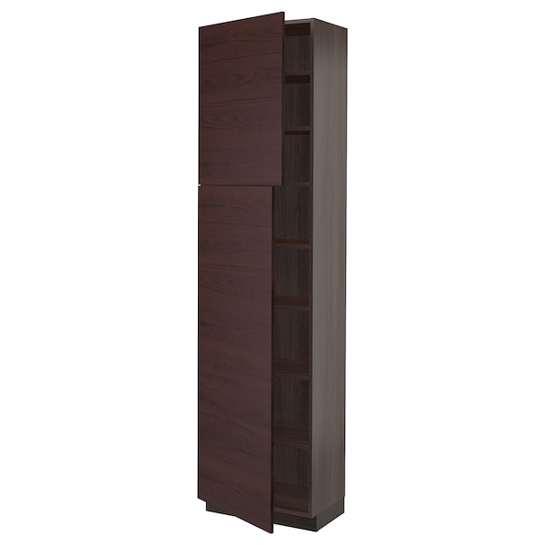 SEKTION High cabinet with shelves & 2 doors, brown Askersund/dark brown ash effect, 24x15x90 ""