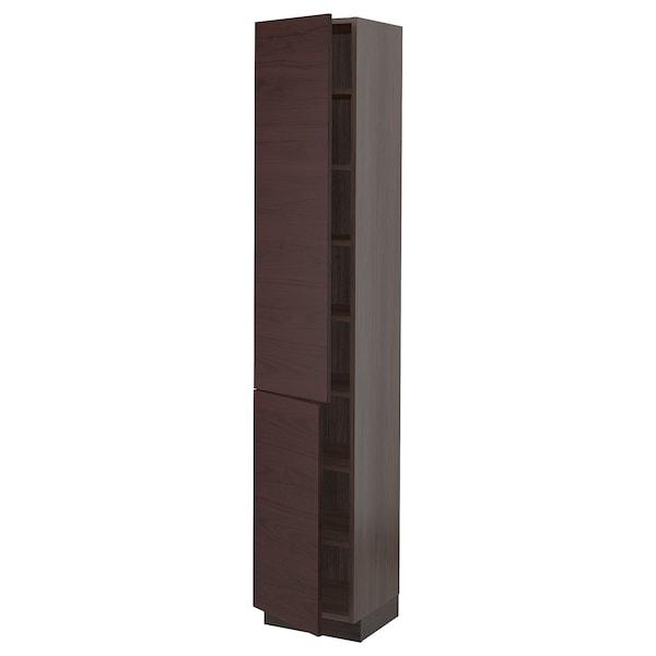 "SEKTION High cabinet with shelves & 2 doors, brown Askersund/dark brown ash effect, 15x15x80 """