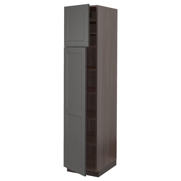 "SEKTION High cabinet with shelves & 2 doors, brown/Axstad dark gray, 18x24x80 """