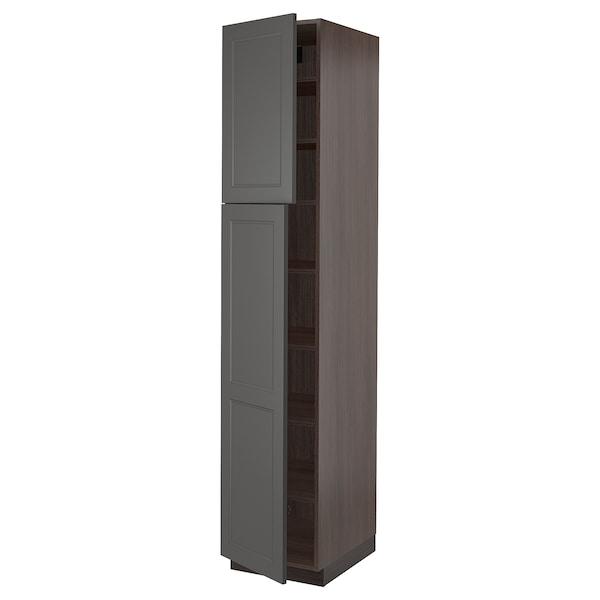 "SEKTION High cabinet with shelves & 2 doors, brown/Axstad dark gray, 18x24x90 """
