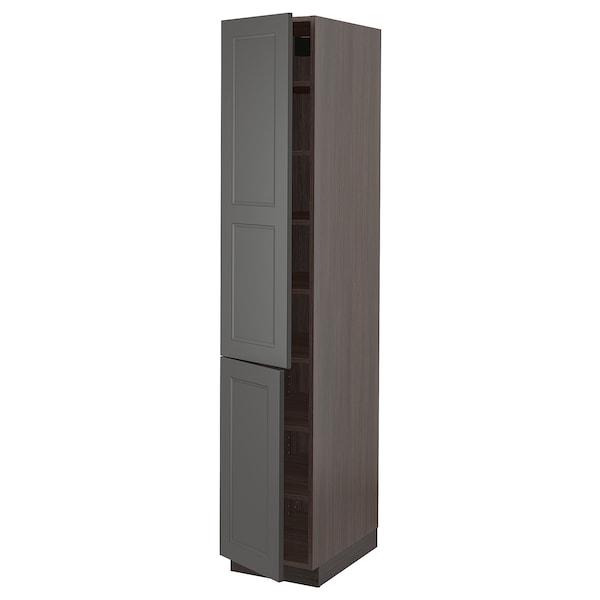 "SEKTION High cabinet with shelves & 2 doors, brown/Axstad dark gray, 15x24x80 """
