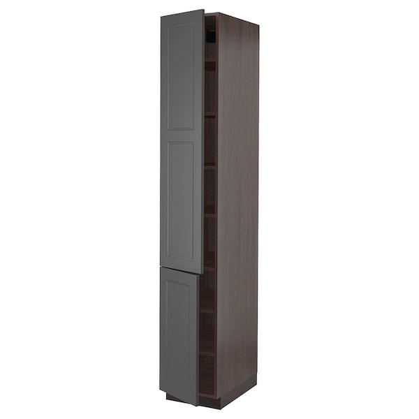 "SEKTION High cabinet with shelves & 2 doors, brown/Axstad dark gray, 15x24x90 """