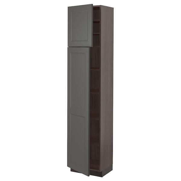 "SEKTION High cabinet with shelves & 2 doors, brown/Axstad dark gray, 18x15x80 """