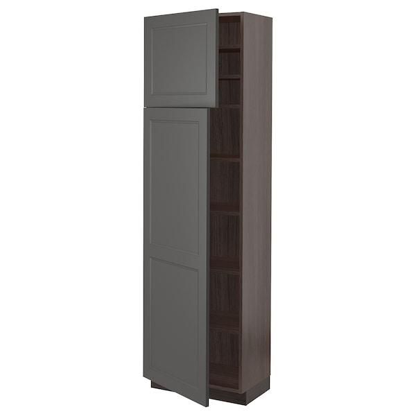 "SEKTION High cabinet with shelves & 2 doors, brown/Axstad dark gray, 24x15x80 """