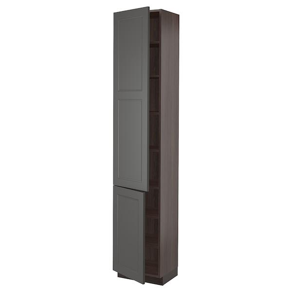 "SEKTION High cabinet with shelves & 2 doors, brown/Axstad dark gray, 18x15x90 """