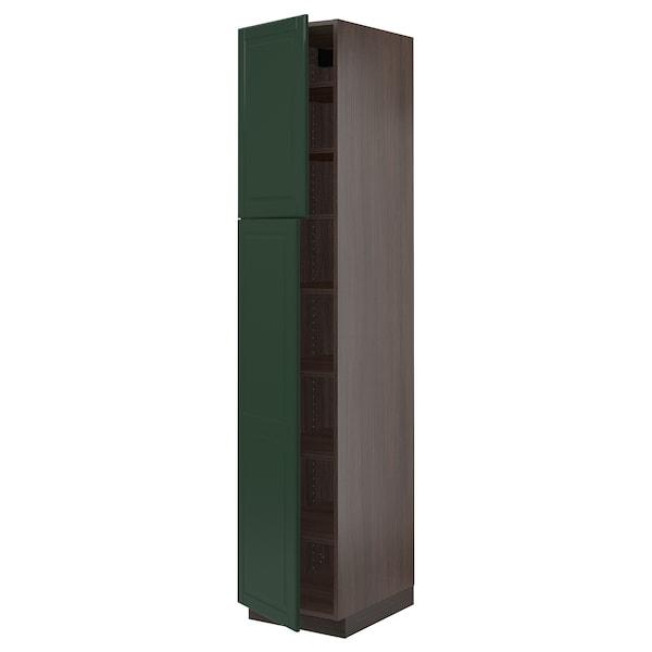 "SEKTION High cabinet with shelves/2 doors, brown/Bodbyn dark green, 18x24x90 """