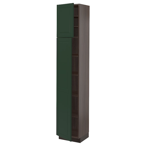 SEKTION High cabinet with shelves/2 doors, brown/Bodbyn dark green, 15x15x80 ""