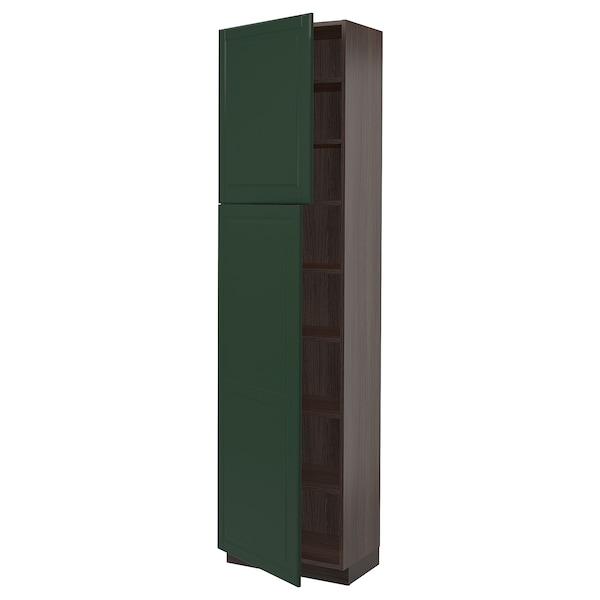 "SEKTION High cabinet with shelves/2 doors, brown/Bodbyn dark green, 24x15x90 """
