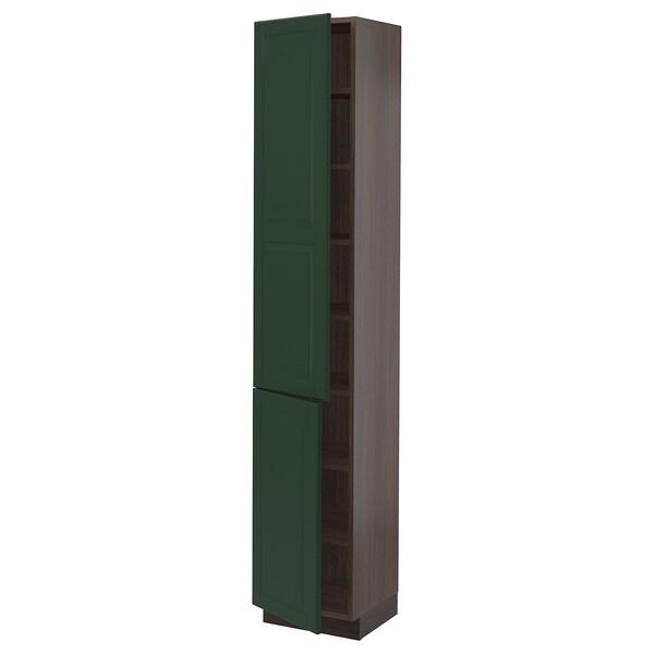 "SEKTION High cabinet with shelves/2 doors, brown/Bodbyn dark green, 15x15x80 """
