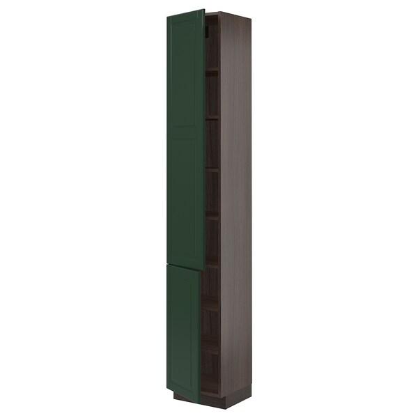 "SEKTION High cabinet with shelves/2 doors, brown/Bodbyn dark green, 15x15x90 """