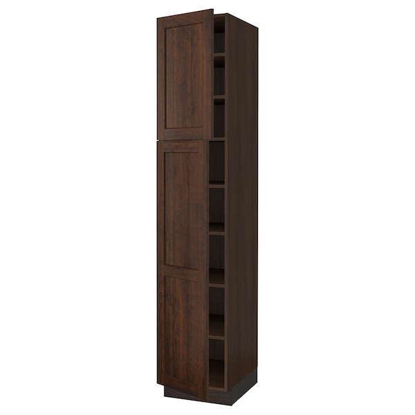 """SEKTION High cabinet with shelves/2 doors, brown/Edserum brown, 18x24x90 """""""