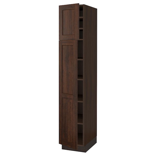 SEKTION High cabinet with shelves/2 doors, brown/Edserum brown, 15x24x80 ""