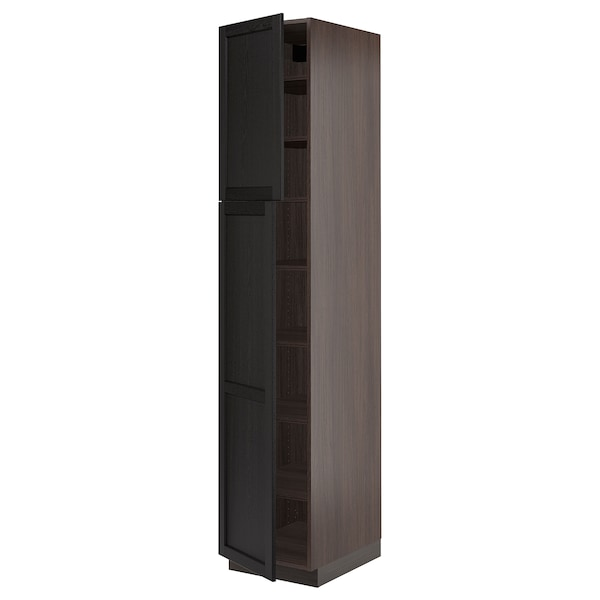 """SEKTION High cabinet with shelves/2 doors, brown/Lerhyttan black stained, 18x24x90 """""""
