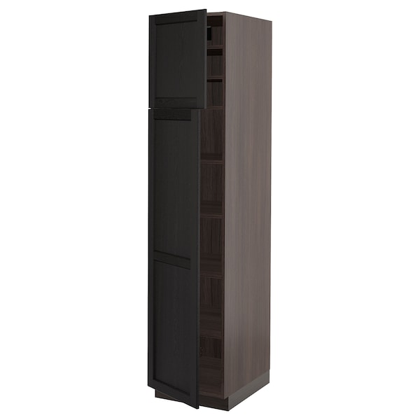"""SEKTION High cabinet with shelves/2 doors, brown/Lerhyttan black stained, 18x24x80 """""""