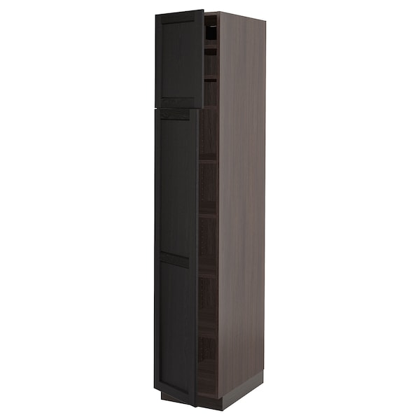 """SEKTION High cabinet with shelves/2 doors, brown/Lerhyttan black stained, 15x24x80 """""""