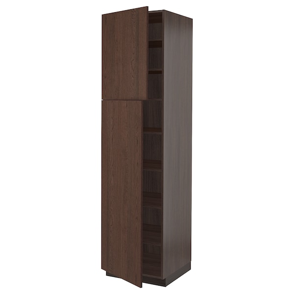 SEKTION High cabinet with shelves/2 doors, brown/Sinarp brown, 24x24x90 ""