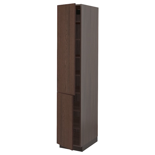 """SEKTION High cabinet with shelves/2 doors, brown/Sinarp brown, 15x24x80 """""""