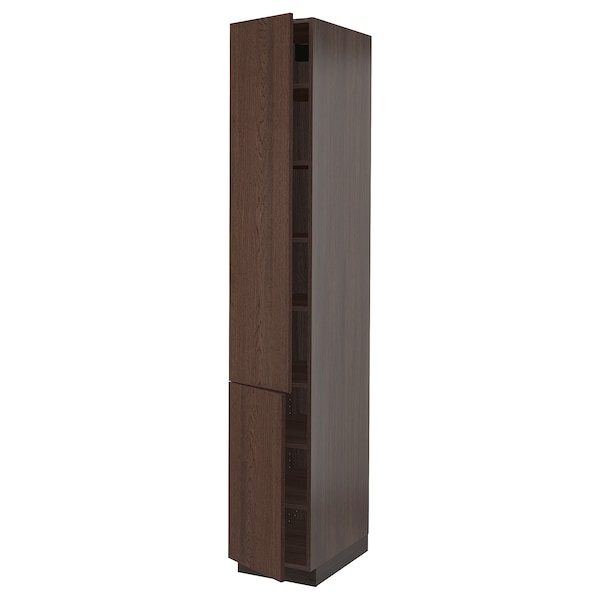 """SEKTION High cabinet with shelves/2 doors, brown/Sinarp brown, 15x24x90 """""""