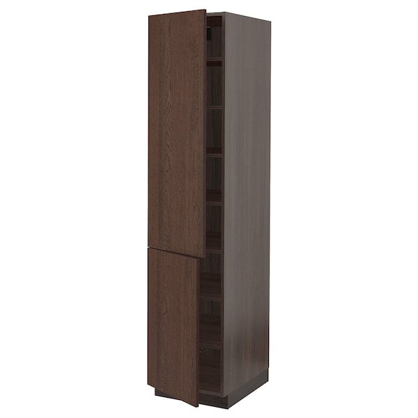 """SEKTION High cabinet with shelves/2 doors, brown/Sinarp brown, 18x24x80 """""""