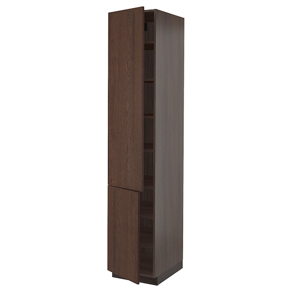 """SEKTION High cabinet with shelves/2 doors, brown/Sinarp brown, 18x24x90 """""""