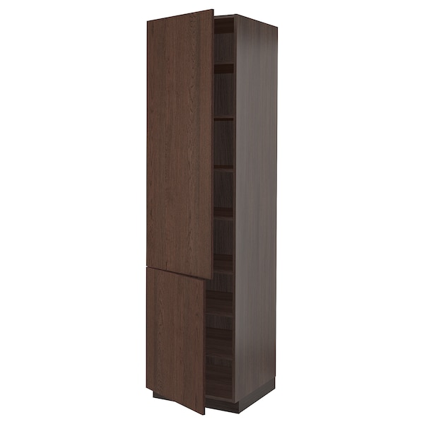 """SEKTION High cabinet with shelves/2 doors, brown/Sinarp brown, 24x24x90 """""""