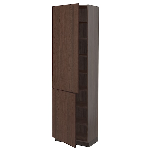 """SEKTION High cabinet with shelves/2 doors, brown/Sinarp brown, 24x15x80 """""""