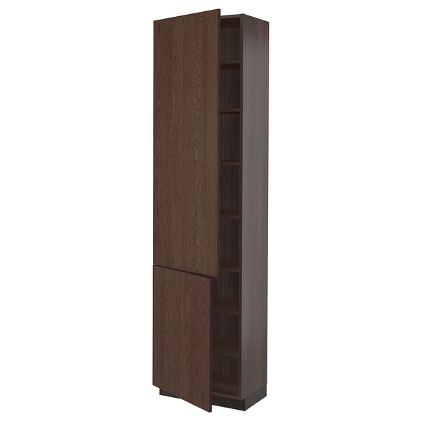 """SEKTION High cabinet with shelves/2 doors, brown/Sinarp brown, 24x15x90 """""""