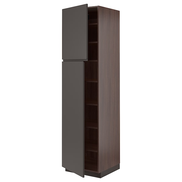 SEKTION High cabinet with shelves/2 doors, brown/Voxtorp dark gray, 24x24x90 ""