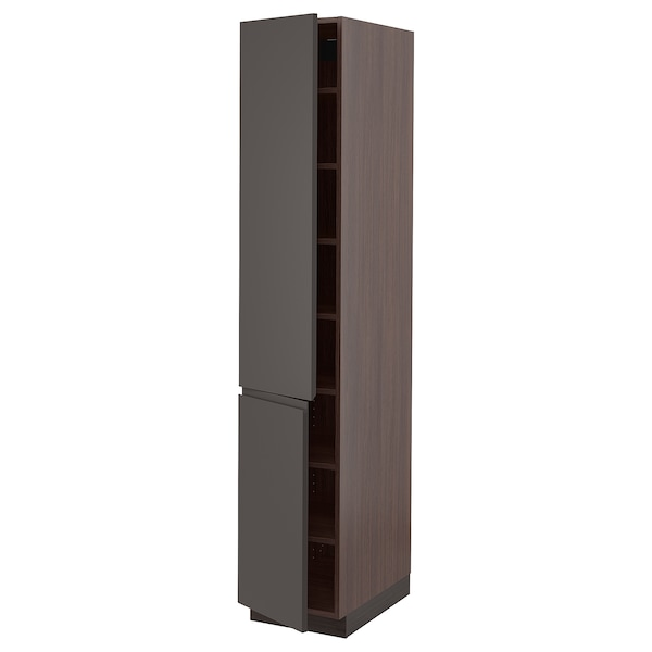 SEKTION High cabinet with shelves/2 doors, brown/Voxtorp dark gray, 15x24x80 ""