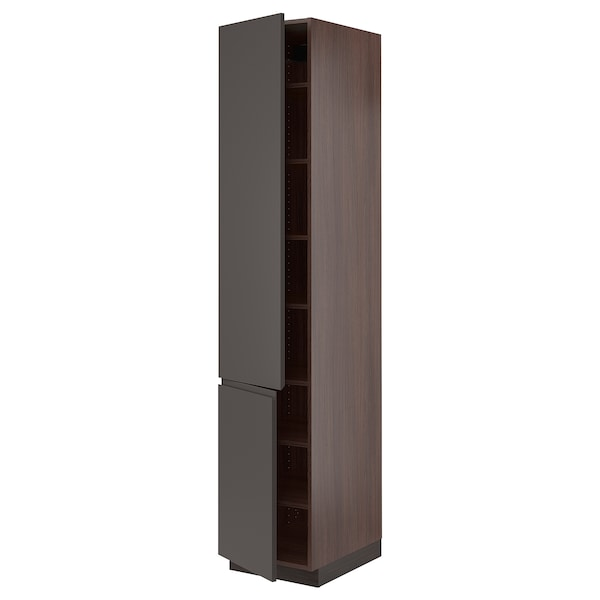 """SEKTION High cabinet with shelves/2 doors, brown/Voxtorp dark gray, 18x24x90 """""""