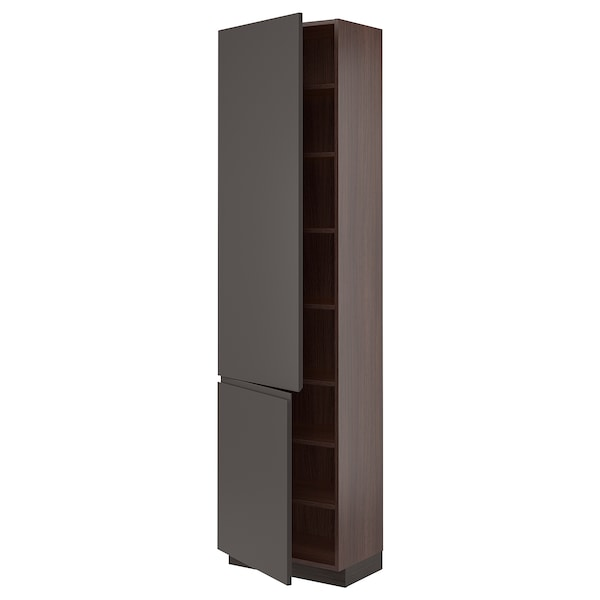 SEKTION High cabinet with shelves/2 doors, brown/Voxtorp dark gray, 24x15x90 ""