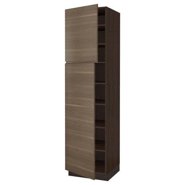 "SEKTION High cabinet with shelves/2 doors, brown/Voxtorp walnut effect, 24x24x90 """