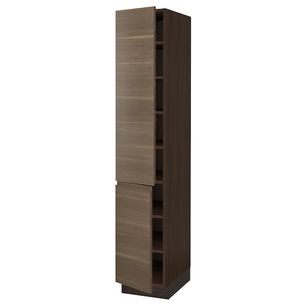 "SEKTION High cabinet with shelves/2 doors, brown/Voxtorp walnut effect, 15x24x80 """