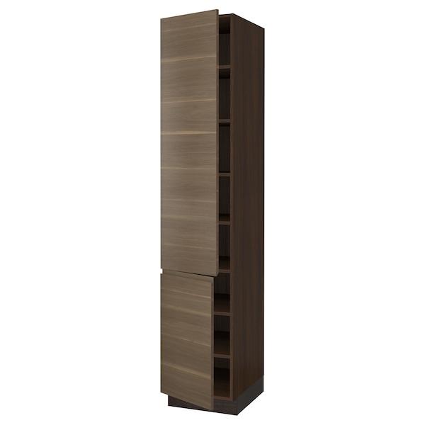 "SEKTION High cabinet with shelves/2 doors, brown/Voxtorp walnut effect, 18x24x90 """