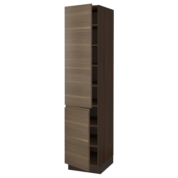 "SEKTION High cabinet with shelves/2 doors, brown/Voxtorp walnut effect, 18x24x80 """