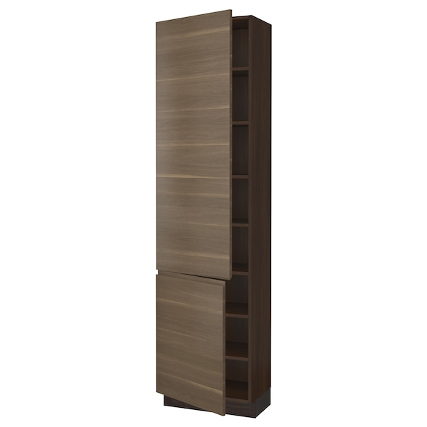 "SEKTION High cabinet with shelves/2 doors, brown/Voxtorp walnut effect, 24x15x90 """