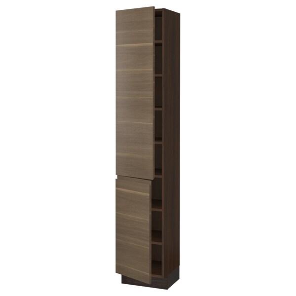 "SEKTION High cabinet with shelves/2 doors, brown/Voxtorp walnut effect, 15x15x80 """