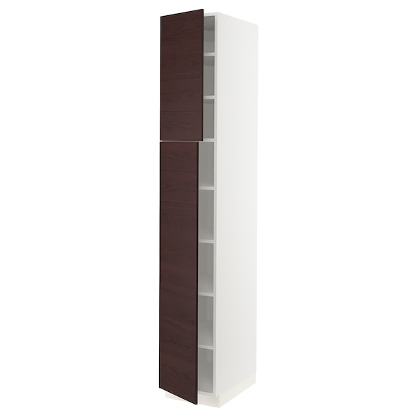 SEKTION High cabinet with shelves & 2 doors, white Askersund/dark brown ash effect, 15x24x90 ""